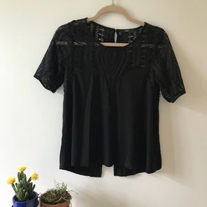 EUC Tart Black Short Sleeve Shirt Lace Top Small